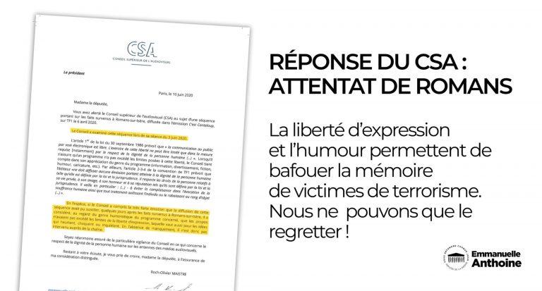Signalement au CSA du traitement irrespectueux des attentats de Romans-sur-Isère par «C Canteloup»
