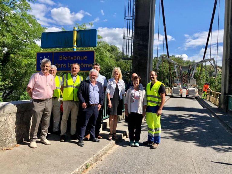 Réunion à Eymeux sur la mission d'inspection sur le pont suspendu d'Eymieux/St Lattier